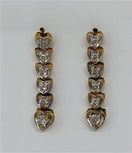 Gold Diamond Earrings 12 Diamonds 24 Carat T W 14k Yellow 3 5g